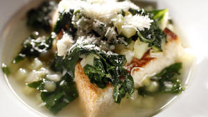 Potato and wild chard soup