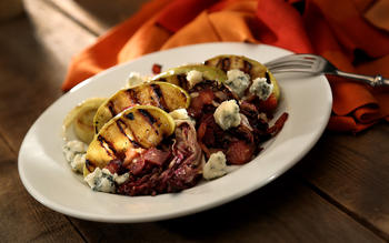 Grilled apple salad with blue cheese and maple vinaigrette