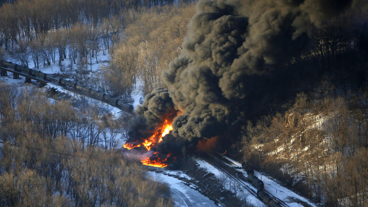 Oil Train Derailment Illinois Mike Burley/Telegraph Herald Smoke and flames erupt from the scene of a train derailment Thursday, March 5, 2015, near Galena, Ill. A BNSF Railway freight train loaded with crude oil derailed around 1:20 p.m. in a rural area where the Galena River meets the Mississippi, said Jo Daviess County Sheriff's Sgt. Mike Moser.