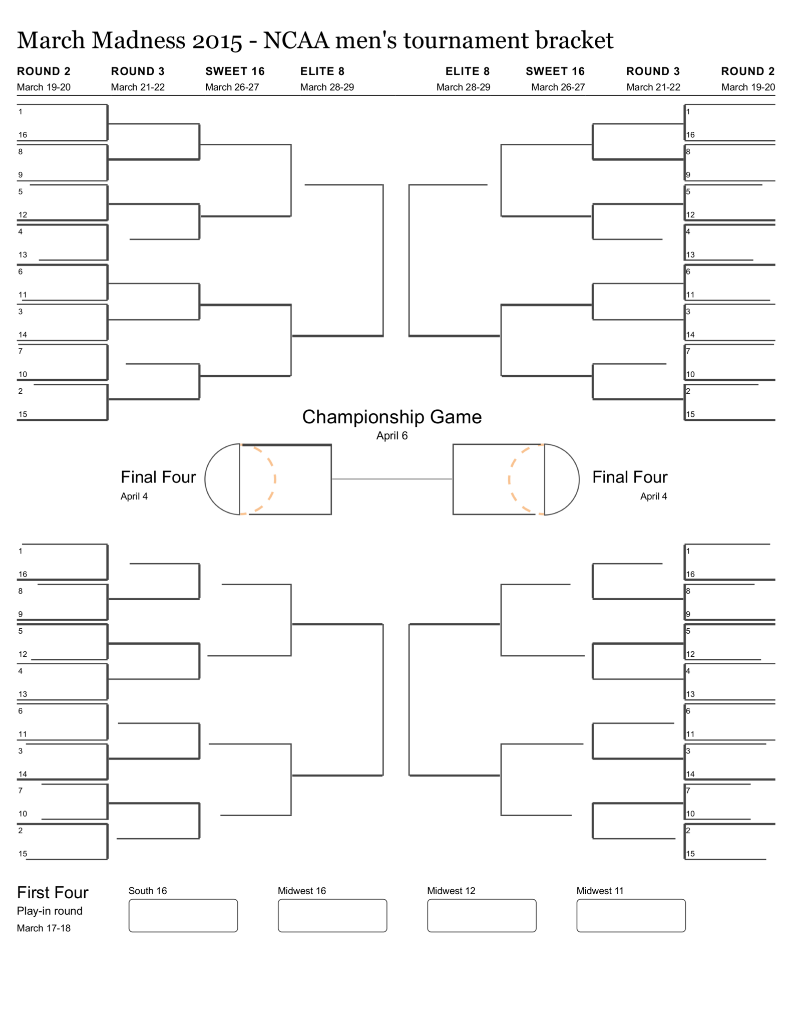 graphic about Printable Ncaa Bracket With Times and Channels named Printable Blank NCAA Event Bracket - Los Angeles Days