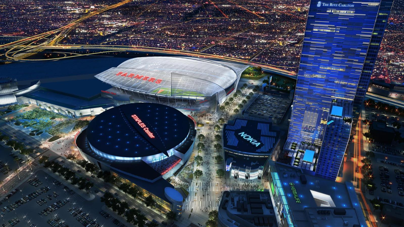 A rendering shows Farmers Field, an NFL stadium proposed by AEG for downtown adjacent to the L.A. Convention Center.