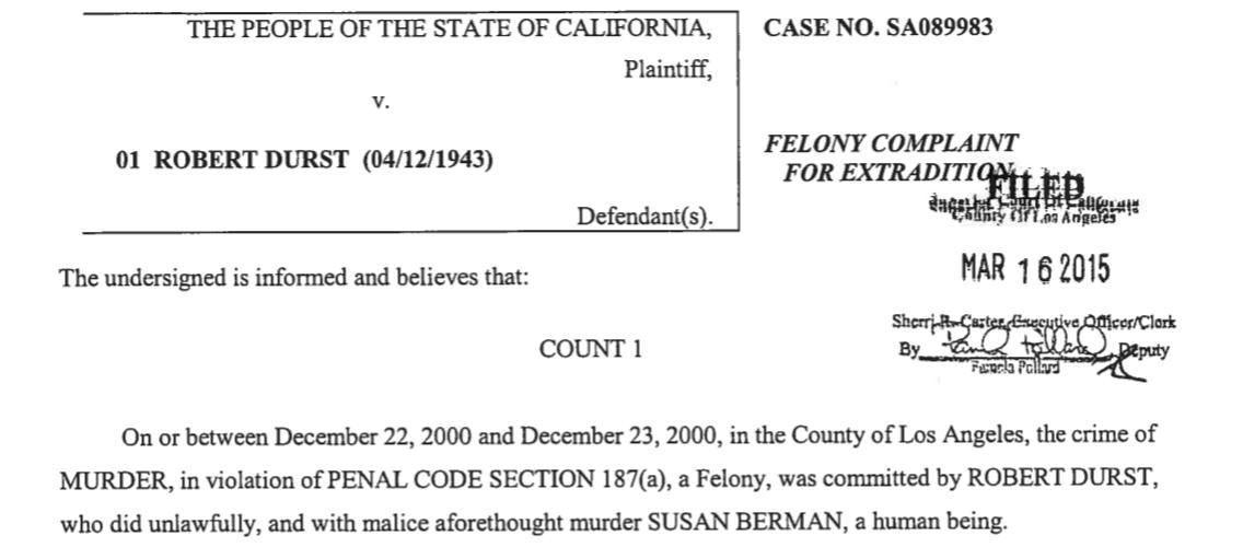 Robert Durst case: Murder charge filed