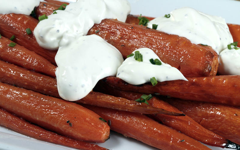 Connie and Ted's roasted carrots with rosemary butter and black pepper crème fraîche