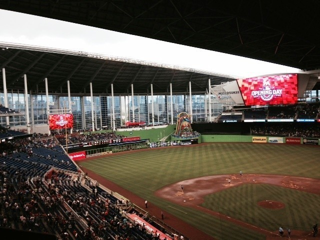 Downpour With Roof Open Creates Rain Delay At Marlins Park