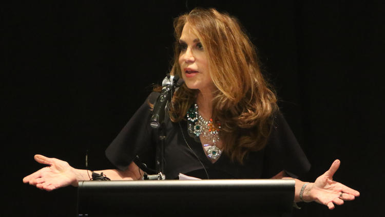 Pamela Geller speaks during a meeting in 2015.
