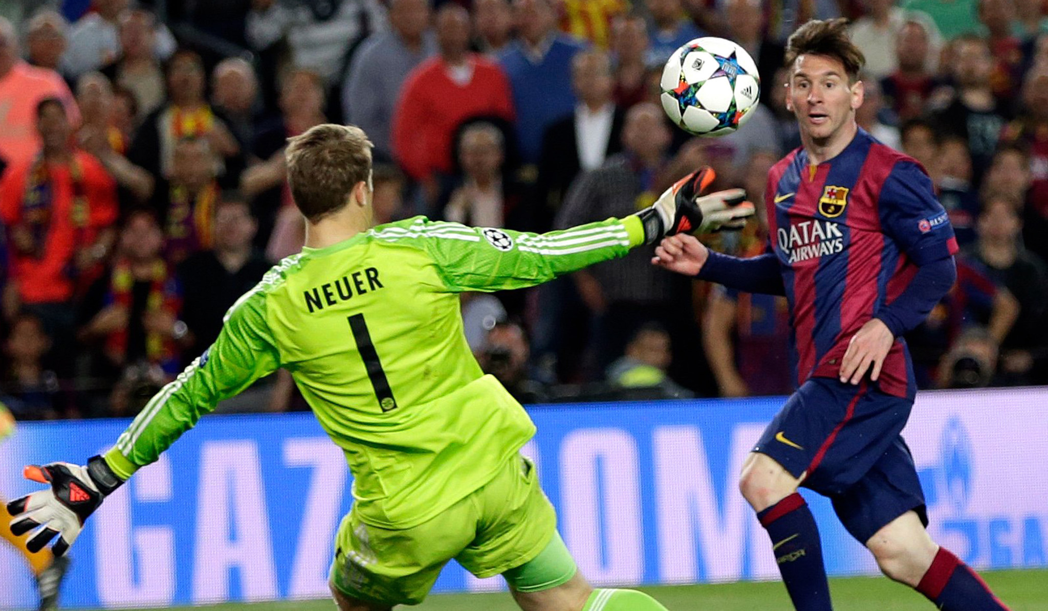 Watch Lionel Messi score two amazing goals vs. Bayern ...