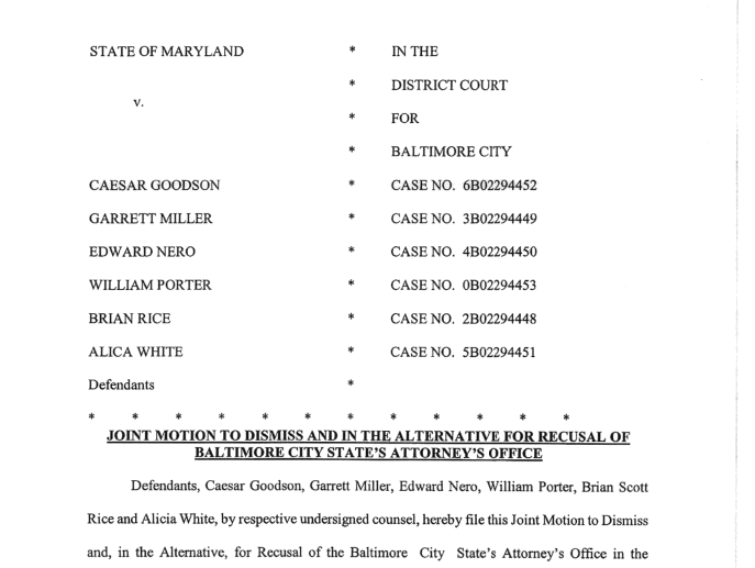 Document: Officers charged in the death of Freddie Gray file motion