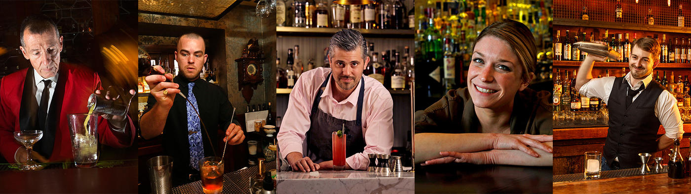 portraits of the five bartenders