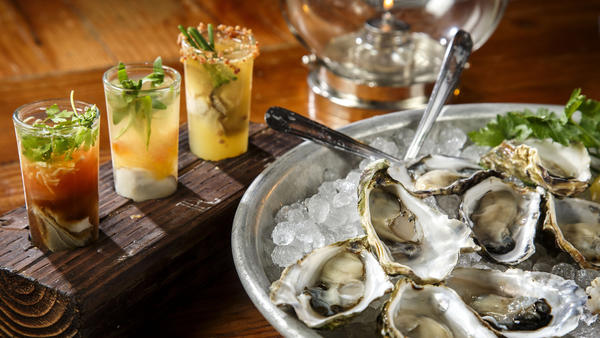 various cocktails and oyster platter