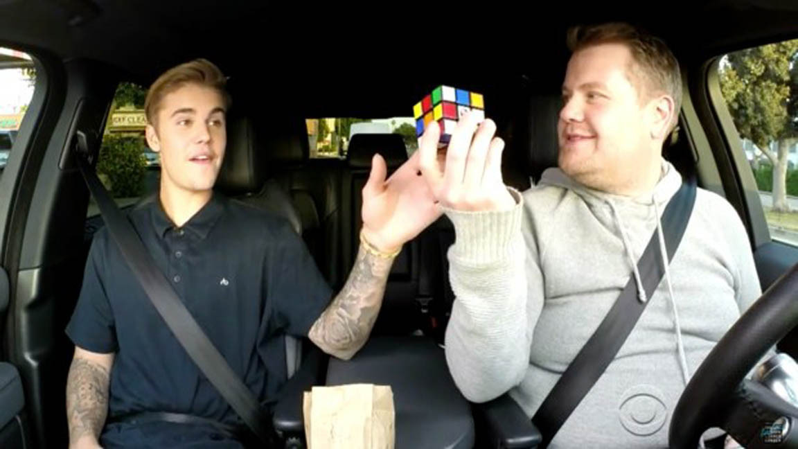 Justin Bieber Does Carpool Karaoke And Solves A Rubiks Cube