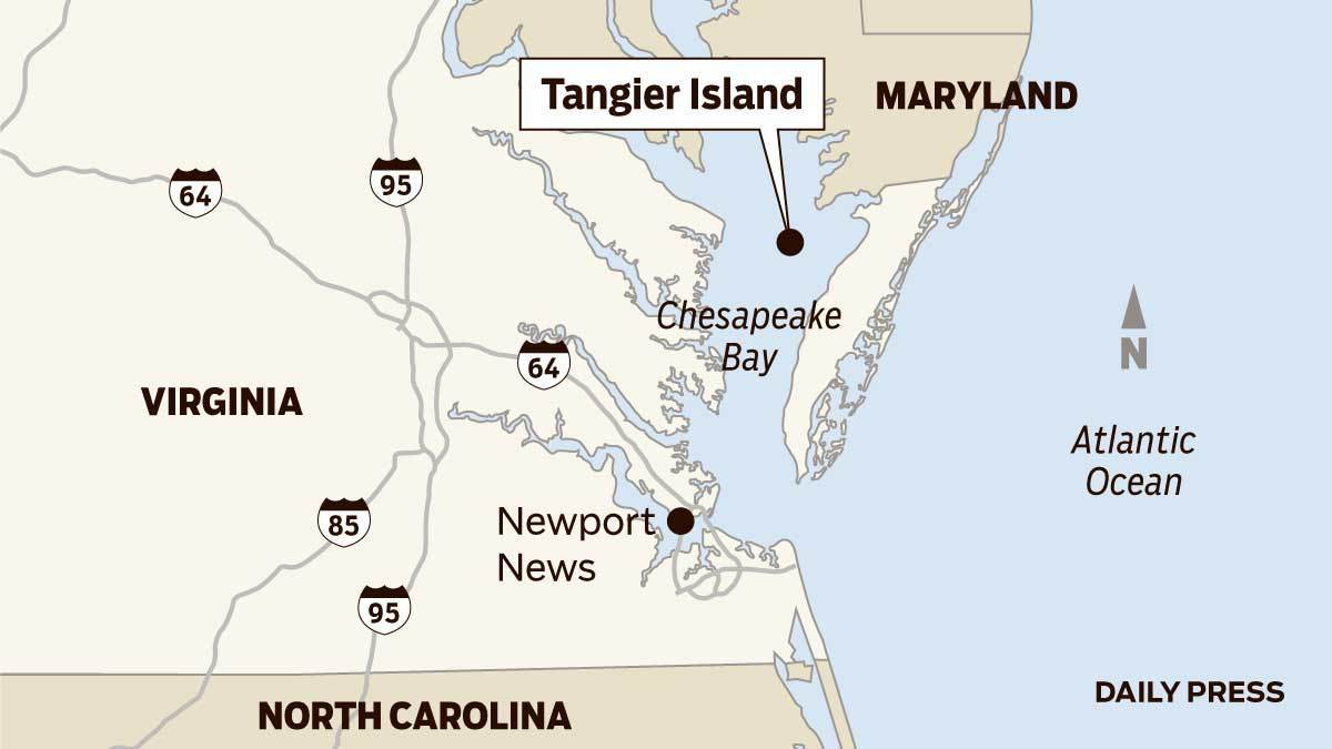 Tangier Island Virginia Map.Map Tangier Island In Virginia Daily Press