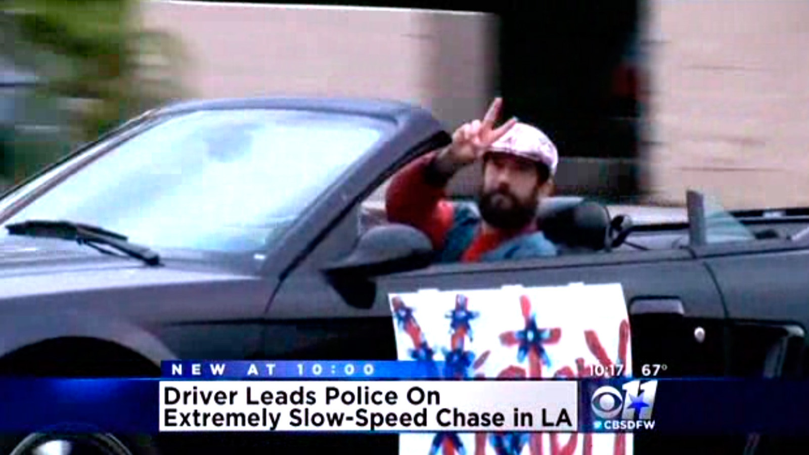 Victory parade' car chase ends when bystander blocks
