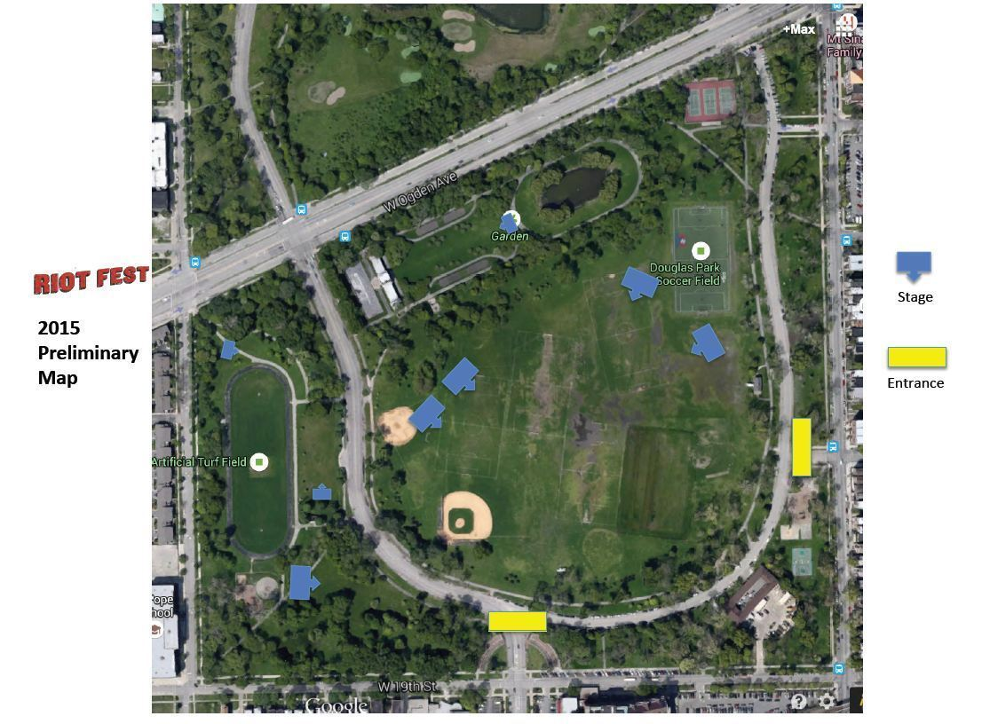 Douglas Park Chicago Map.Riot Fest Asking For As Many As 9 Stages At New Venue In Douglas