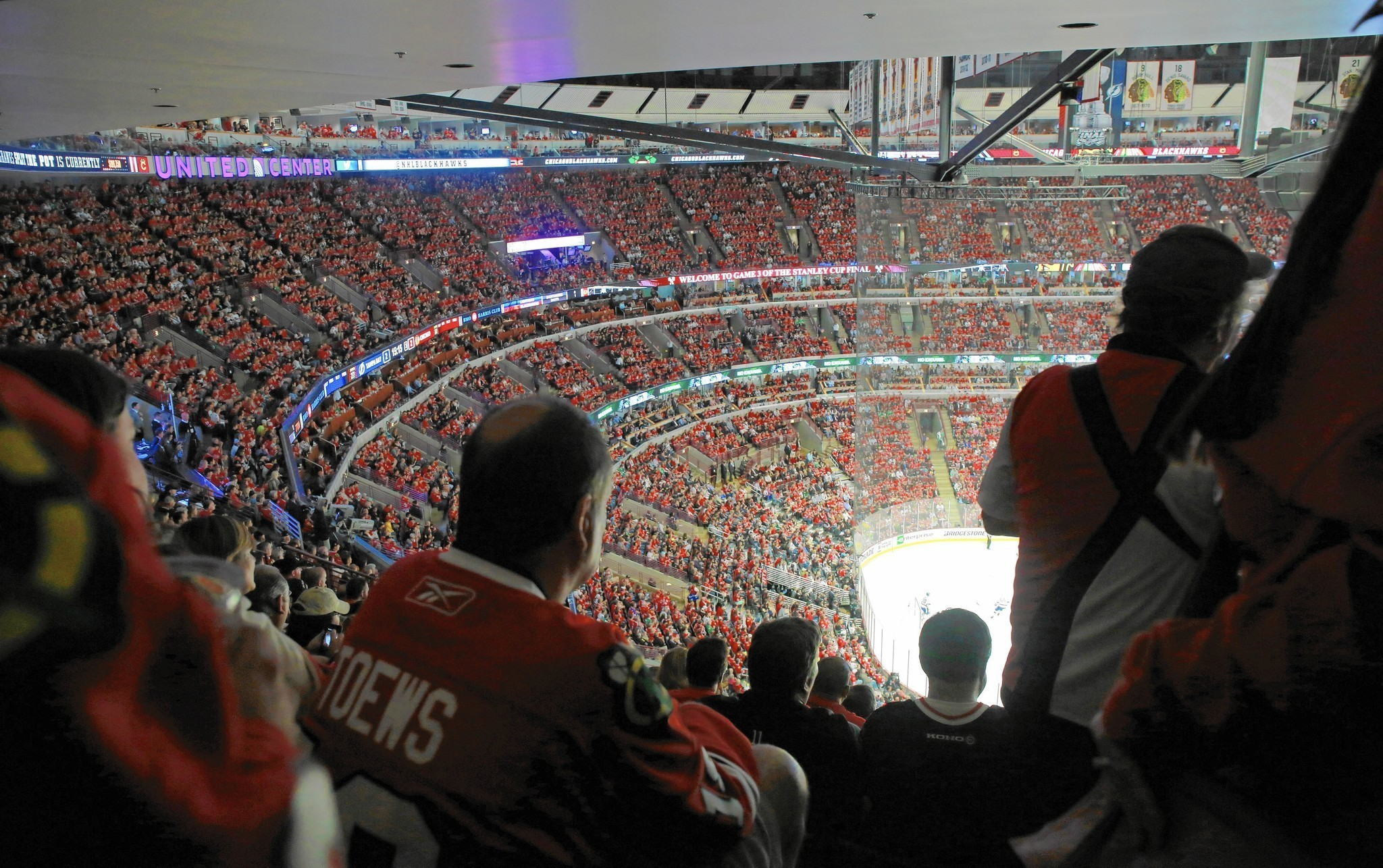 Near The Rafters Fans Stand As Hawks Play For Stanley Cup
