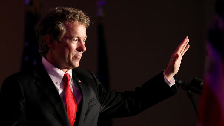 Sen. Rand Paul of Kentucky delivers the keynote speech at the Republican Party of Orange County's Flag Day dinner. (Luis Sinco / Los Angeles Times) ()