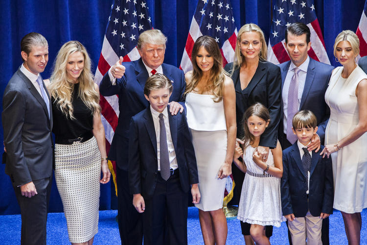 Donald Trump poses with his family after announcing his candidacy for president in New York in June 2015.