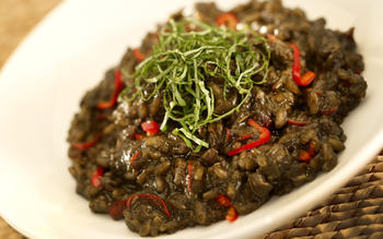 Squid ink risotto