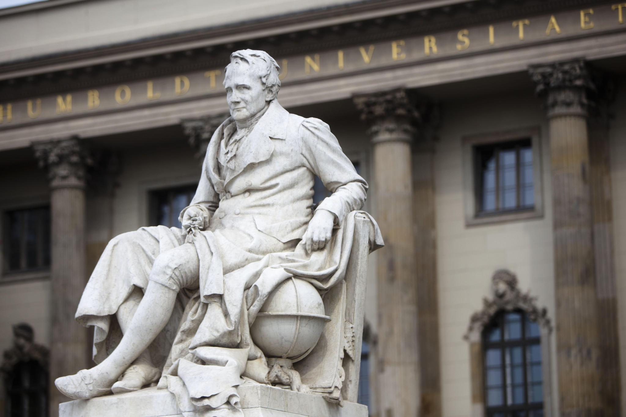 Statue of Alexander von Humboldt in central Berlin.
