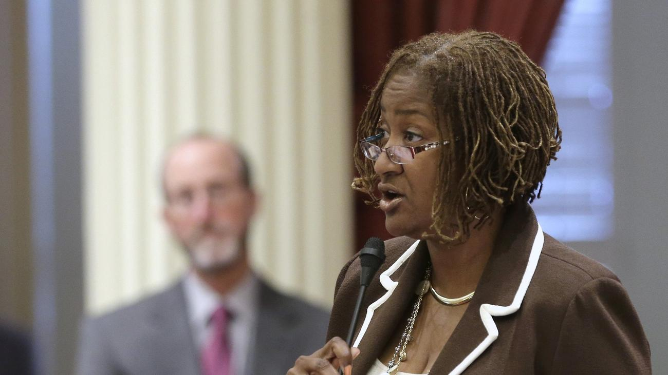 State Sen. Holly Mitchell speaks to the Senate in June. (Rich Pedroncelli / Associated Press)