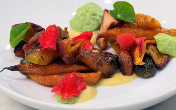Carrots, chanterelles, peaches and vadouvan
