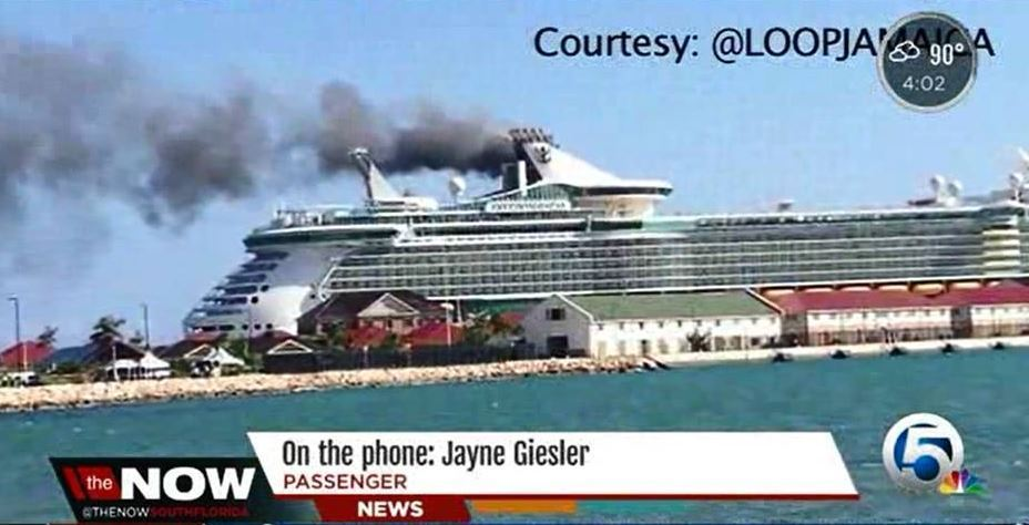 Royal Caribbean Cruise Ship Catches Fire In Jamaica Burns