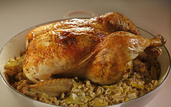 Roasted one-pan chicken with leeks and barley
