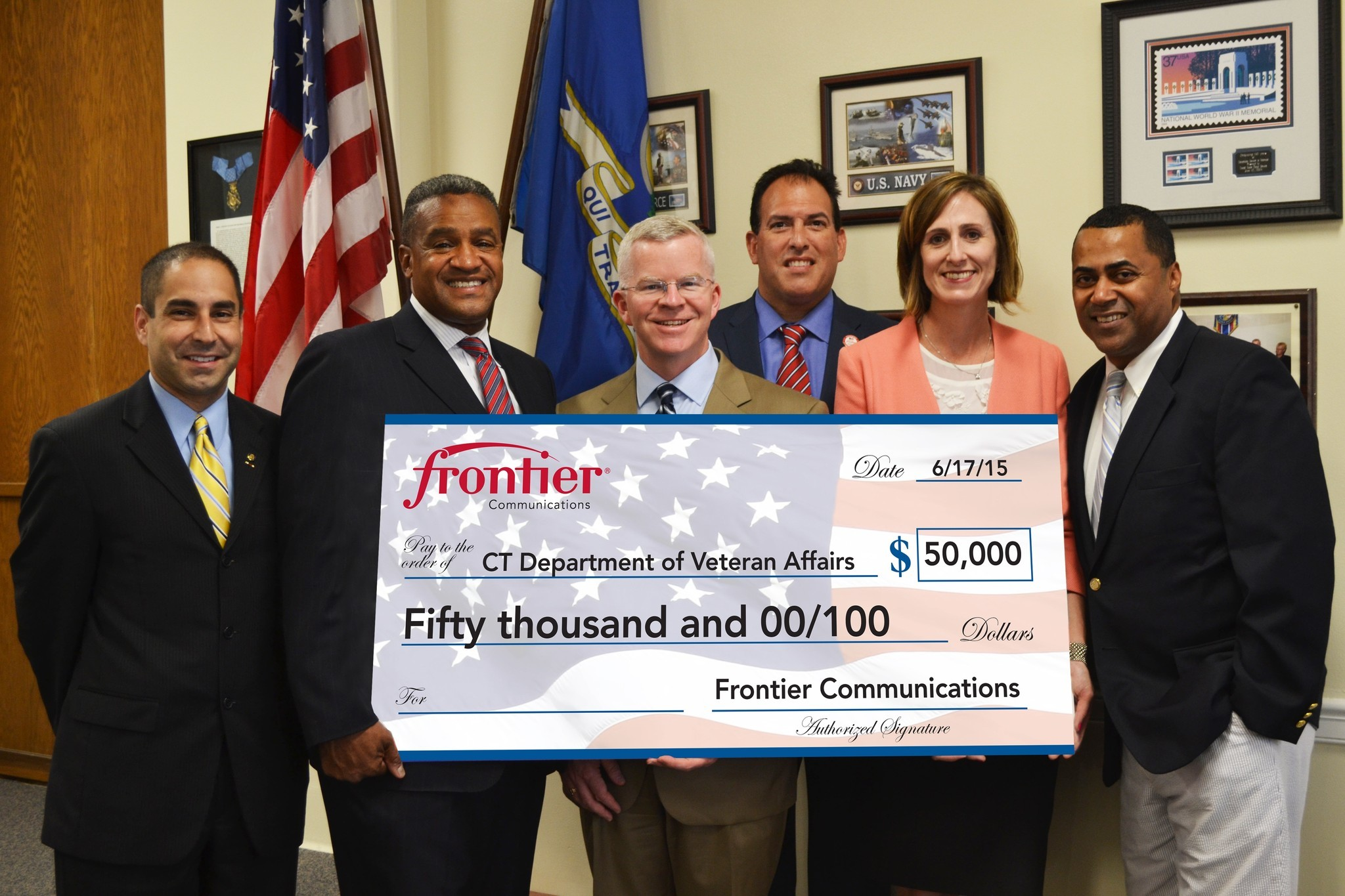 Frontier Donates $50K to CT Department of Veterans Affairs