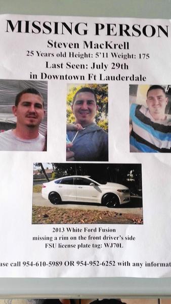 Steven Mackrell (25) missing from Fort Lauderdale, FL since 7/30/15