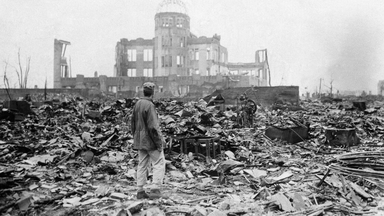 A photograph from 1945 shows some of the devastation in Hiroshima, Japan, after the atomic bomb blast.