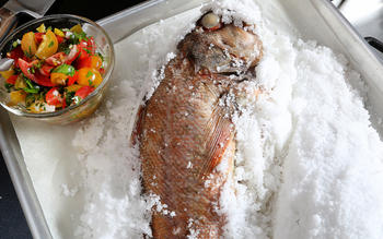 Salt-roasted rockfish with tomato-olive salsa