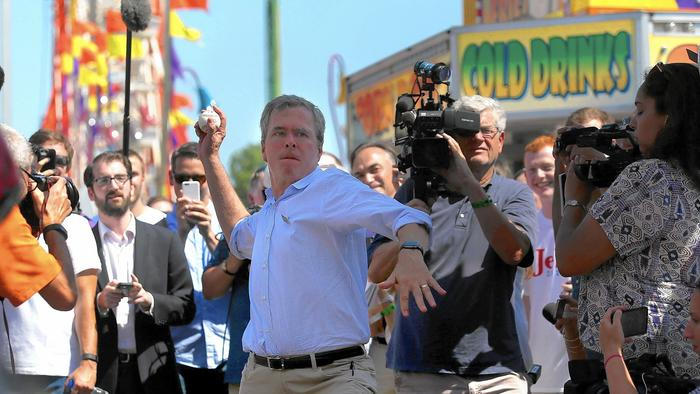 Republican presidential hopeful and former Florida Gov. Jeb Bush visited the Iowa State Fair on Friday. (Justin Sullivan / Getty Images)