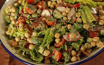 Fattoush with yogurt and garbanzo beans