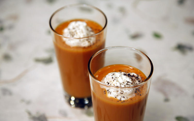 Spicy gazpacho shooter with goat cheese cream