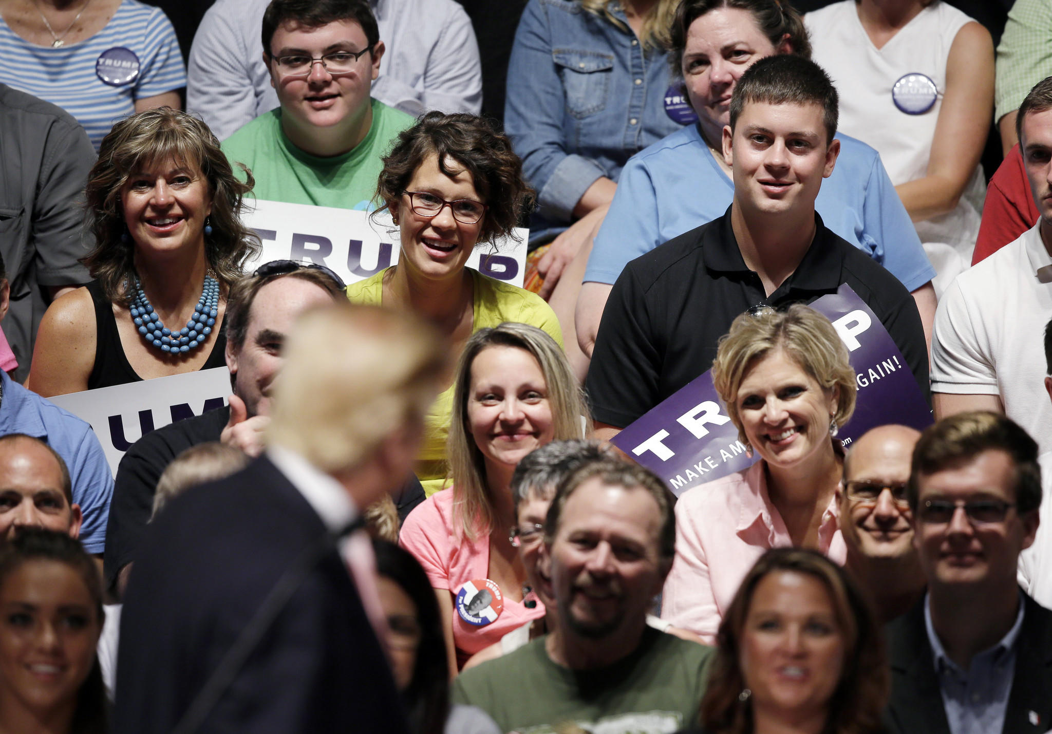 Donald Trump speaks at a rally and picnic in Oskaloosa, Iowa, in late July. (Charlie Neibergall / Associated Press)