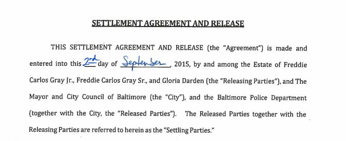 Document Freddie Gray Settlement Agreement Baltimore Sun