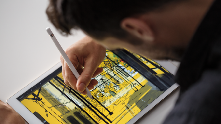 The new big-screened iPad Pro and the Apple Pencil stylus. (Apple)