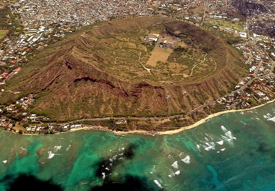 An aerial shot shows Diamond Head State Monument on Hawaii's island of Oahu. (Arnie Cooper)