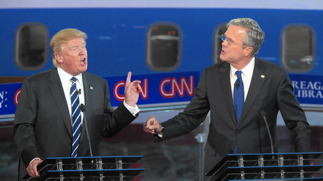 Republican presidential candidates Donald Trump and Jeb Bush spar during a debate at the Ronald Reagan Presidential Library in Simi Valley on Sept. 16.