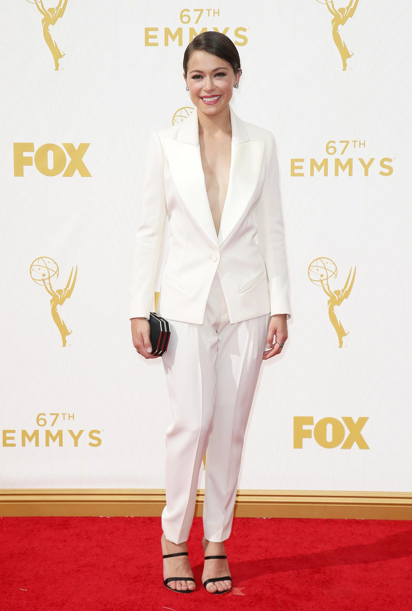 Tatiana Maslany wearing Bouchra Jarrar  (Danny Moloshok / Invision for the Television Academy)
