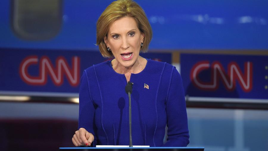 Carly Fiorina at the CNN Republican presidential debate held on Sept. 16 in Simi Valley, Calif. (Mark J. Terrill / Associated Press) ()
