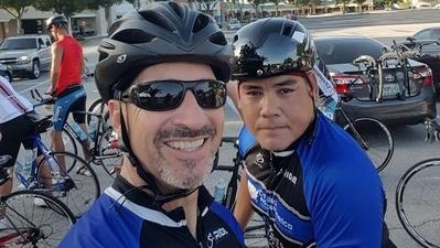 Paul Ricci, left, with Chris Liddy. Ricci is helping organize a benefit ride for Liddy, who was severely injured in July truck accident.