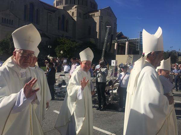 Archbishop Gomez walks with other bishops in the procession for the canonization of Father Junipero Serra. (Courtesy of the Archdiocese of Los Angeles)