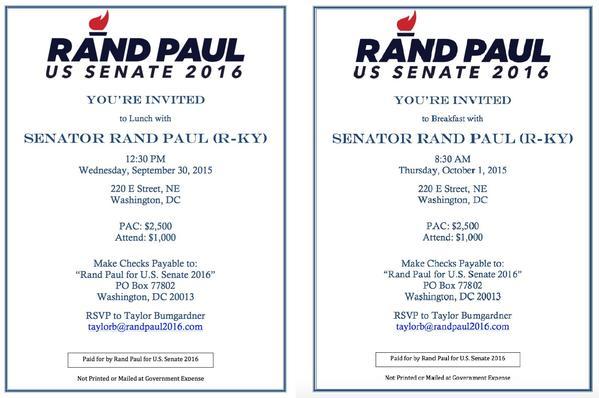 Invitations to Rand Paul's Senate campaign fundraisers