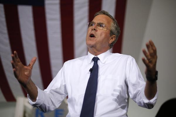 Jeb Bush outlines his energy policy during a visit to Rice Energy, an oil and gas company based in Canonsburg, Pa. (Gene J. Puskar / Associated Press)