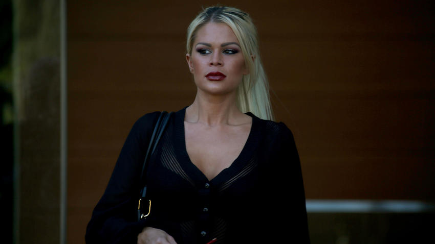 Chloe Goins walks out of Los Angeles Police Department headquarters in January after delivering a statement alleging that she was sexually assaulted by Bill Cosby at the Playboy Mansion in 2008.