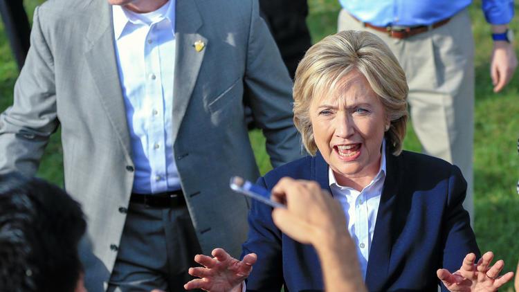 Hillary Rodham Clinton campaigns in Council Bluffs, Iowa. (Nati Harnik / Associated Press) ()