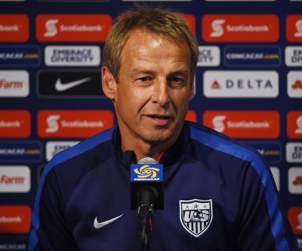 U.S. Coach Juergen Klinsmann speaks during a news conference on Oct. 9. (Mark Ralston / Getty Images)