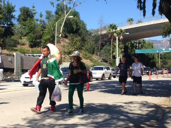 Soccer fans make their way to the U.S.-Mexico match Saturday at the Rose Bowl. (Ruben Vives)