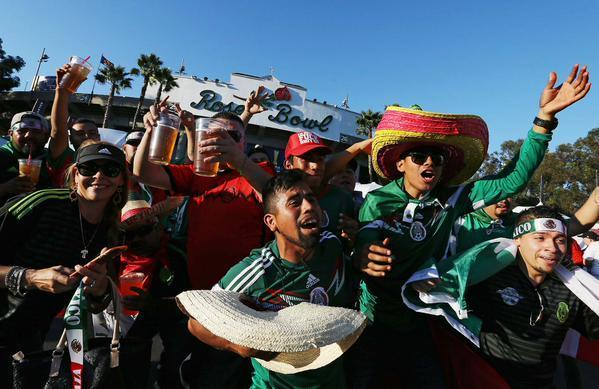 Soccer fans gathered at the Rose Bowl Saturday for the CONCACAF match between the U.S. and Mexico. (Luis Cinco)