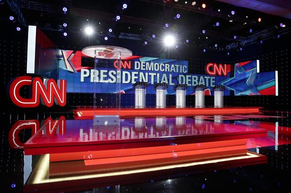 The stage is set for the Democratic presidential debate sponsored by CNN and Facebook at Wynn Las Vegas. (Alex Wong/Getty Images)